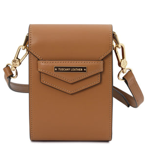 Front View Of The Cognac Small Leather Crossbody Bag