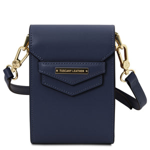 Front View Of The Dark Blue Small Leather Crossbody Bag