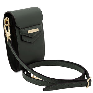 Angled And Shoulder Strap View Of The Forest Green Small Leather Crossbody Bag