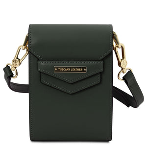 Front View Of The Forest Green Small Leather Crossbody Bag