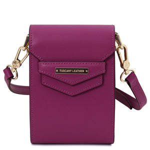 Front View Of The Purple Small Leather Crossbody Bag
