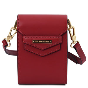 Front View Of The Red Small Leather Crossbody Bag