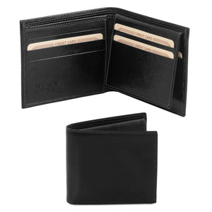 Open And Front View Of The Black Small Mens Leather Wallet