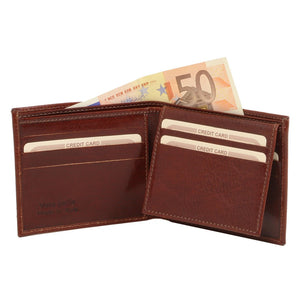 Open View Of The Brown Small Mens Leather Wallet