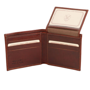 ID Window View Of The Brown Small Mens Leather Wallet