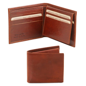 Open And Front View Of The Brown Small Mens Leather Wallet