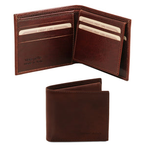 Open And Front View Of The Dark Brown Small Mens Leather Wallet