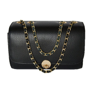 Front View Of The Black Katie Small Leather Handbag