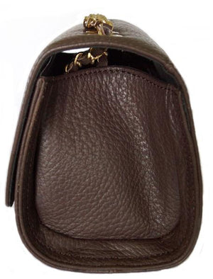 Side View Of The Dark Brown Katie Small Leather Handbag