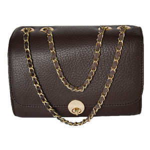 Front View Of The Dark Brown Katie Small Leather Handbag