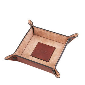 Top Angled View Of The Brown Small Leather Desk Tidy Tray