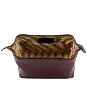 Internal View Of The Brown Small Leather Toiletry Bag