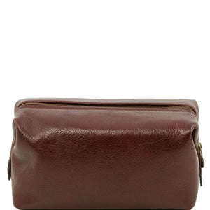 Front View Of The Brown Small Leather Toiletry Bag