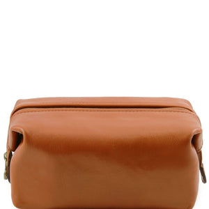Front View Of The Honey Small Leather Toiletry Bag