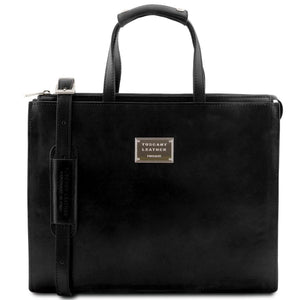 Front View Of The Black Leather Briefcase For Women