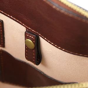 Internal Close Up Features View Of The Brown Leather Briefcase For Women
