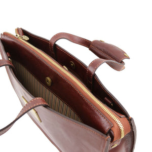 Top Angled View Of The Brown Leather Briefcase For Women
