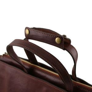 Top Handles View Of The Brown Leather Briefcase For Women