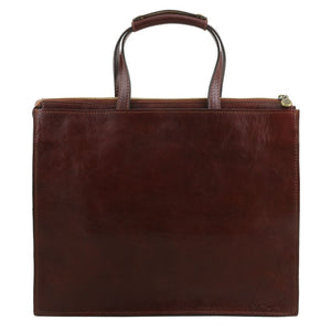 Rear View Of The Brown Leather Briefcase For Women