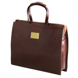 Angled View Of The Brown Leather Briefcase For Women