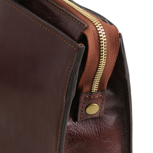 Zip Closure View Of The Brown Leather Briefcase For Women