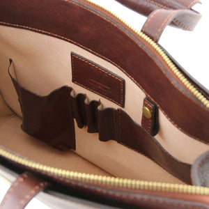 Internal View Of The Brown Leather Briefcase For Women