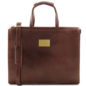 Front View Of The Brown Leather Briefcase For Women