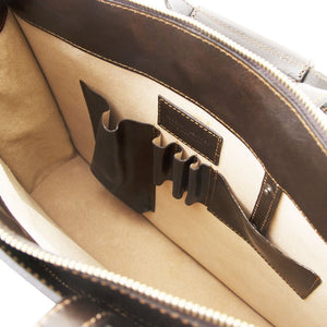 Internal Features View Of The Dark Brown Leather Briefcase For Women
