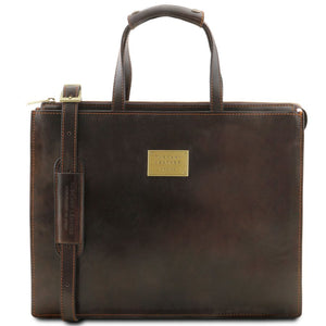 Front View Of The Dark Brown Leather Briefcase For Women