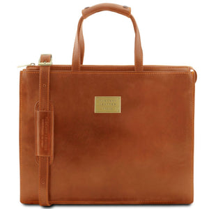 Front View Of The Honey Leather Briefcase For Women