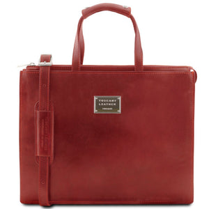 Front View Of The Redn Leather Briefcase For Women