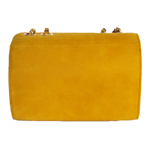 Rear View Of The Yellow Katie Small Leather Handbag