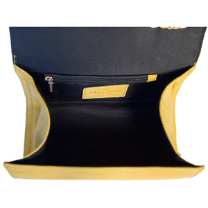 Internal View Of The Yellow Katie Small Leather Handbag