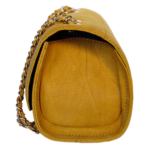 Side View Of The Yellow Katie Small Leather Handbag