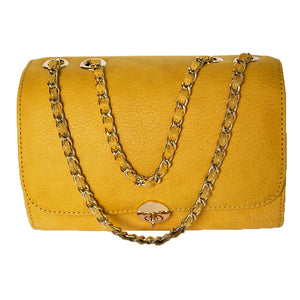 Front View Of The Yellow Katie Small Leather Handbag