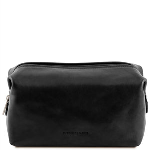 Front View Of The Black Leather Wash Bag