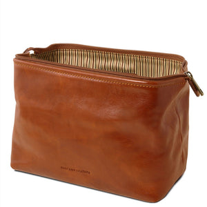 Open View Of The Honey Leather Wash Bag