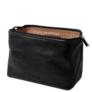 Open View Of The Black Small Leather Toiletry Bag