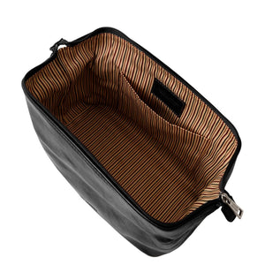 Internal View Of The Black Small Leather Toiletry Bag