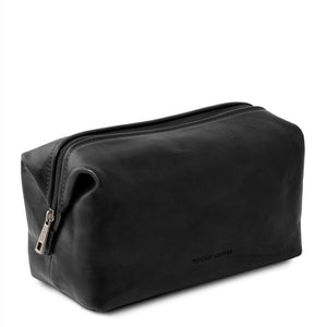 Angled View Of The Black Small Leather Toiletry Bag