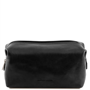 Front View Of The Black Small Leather Toiletry Bag