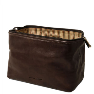 Open View Of The Dark Brown Small Leather Toiletry Bag