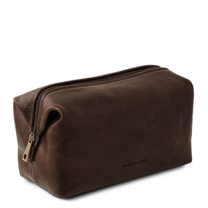Angled View Of The Dark Brown Small Leather Toiletry Bag