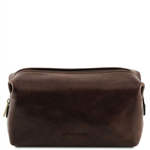 Front View Of The Dark Brown Small Leather Toiletry Bag