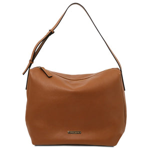 Front View Of The Cognac Soft Handbag