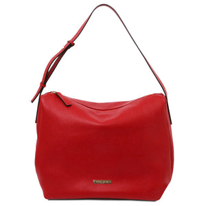Front View Of The Lipstick Red Soft Handbag
