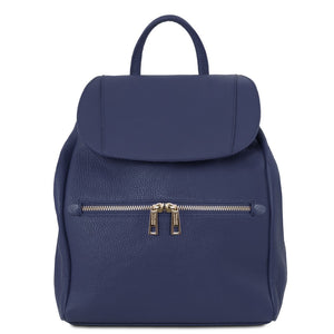 Front View Of The Dark Blue Soft Leather Backpack