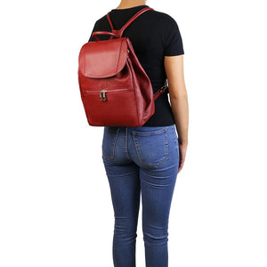 Women Posing With View Of The Red Soft Leather Backpack