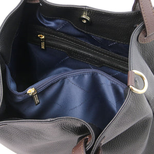 Internal Zip Pocket View Of The Black Soft Leather Shopper