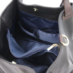 Internal Pocket View Of The Black Soft Leather Shopper